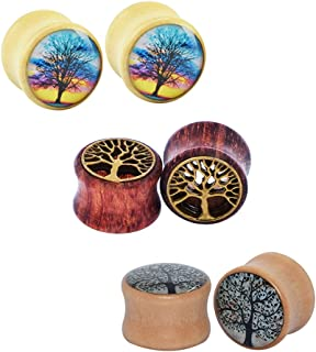 0g-5/8 6pcs of Tree of Life Wood Ear Plugs Flesh Tunnels Expanders