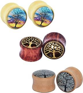 Qmcandy 0g-5/8 6pcs of Tree of Life Wood Ear Plugs Flesh Tunnels Expanders