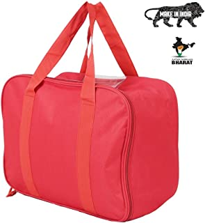 KARP Nylon Saree Cover/Saree Bag/Storage Bag for Clothes Wardrobe Organizer (1, Red with Lining)