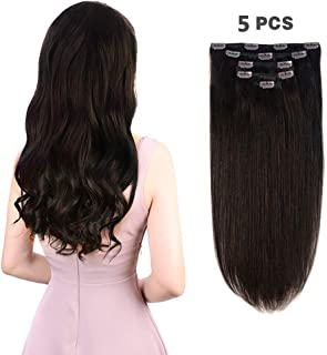 "5 Pieces 18"" Remy Clip in Hair Extensions Human Hair Dark Brown - Beauty Silky Straight Long Thick Real Hair Extensions for Women Fashion (18 inches, #2, 90grams)"