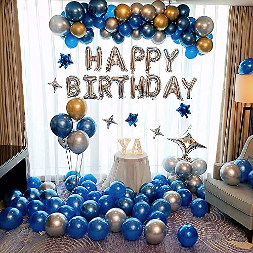 Birthday Party Decorations kit,83pcs HAPPY BIRTHDAY Banners and Latex Balloons Garland & Arch Kit,Blue&Silver&Golden Metallic Balloons Foil Stars Party supplies