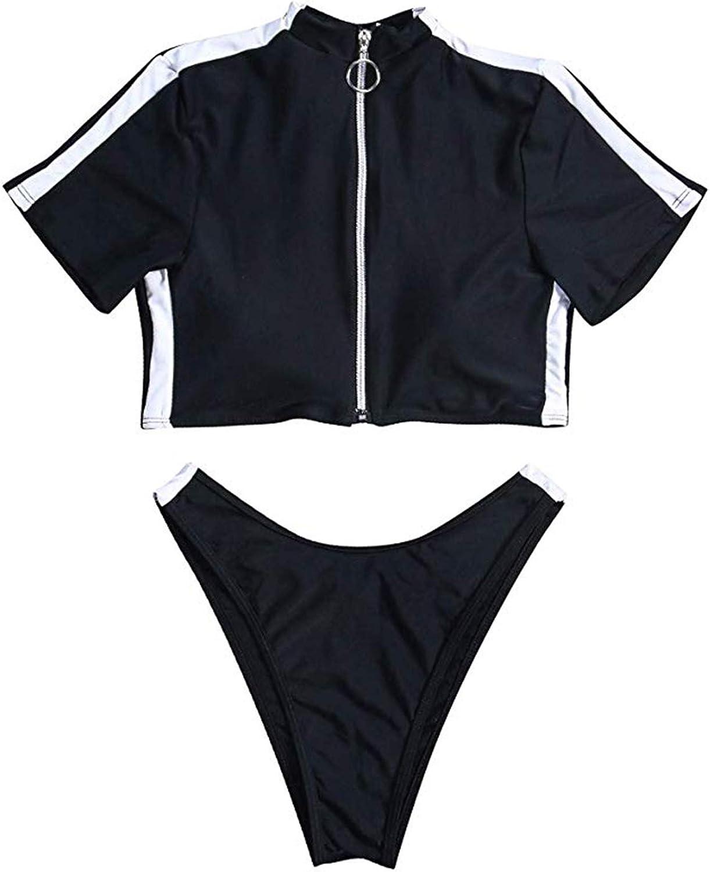 TSWRK Women's Rash Guard Short Sleeve High Waist 2 Piece Sporty Bikini Bathing Suits