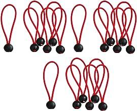 18 stuks zeilspanners met kogel, rubberen lussen, blauw, zwart, spantouw, expanderlussen, rood, 6 inch