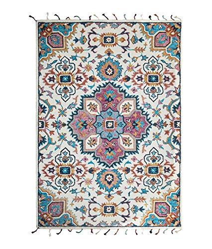 Weinlese-Teppich-Rechteck-weicher Noten-Boden-handgewebter Wollteppich-rutschfeste Abnutzungs-Boden-Matte für Wohnzimmer-Schlafzimmer-blue-140cm*200cm