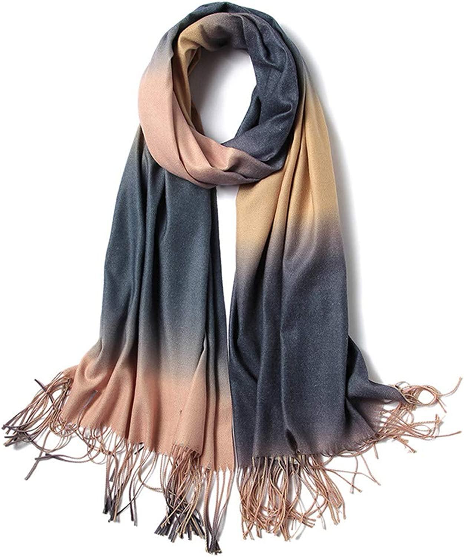 Scarf Women Lady Stylish Print Gradient Scarf Shawl Tassel Scarves Wrap for autumn and winter, Fashion Scarves