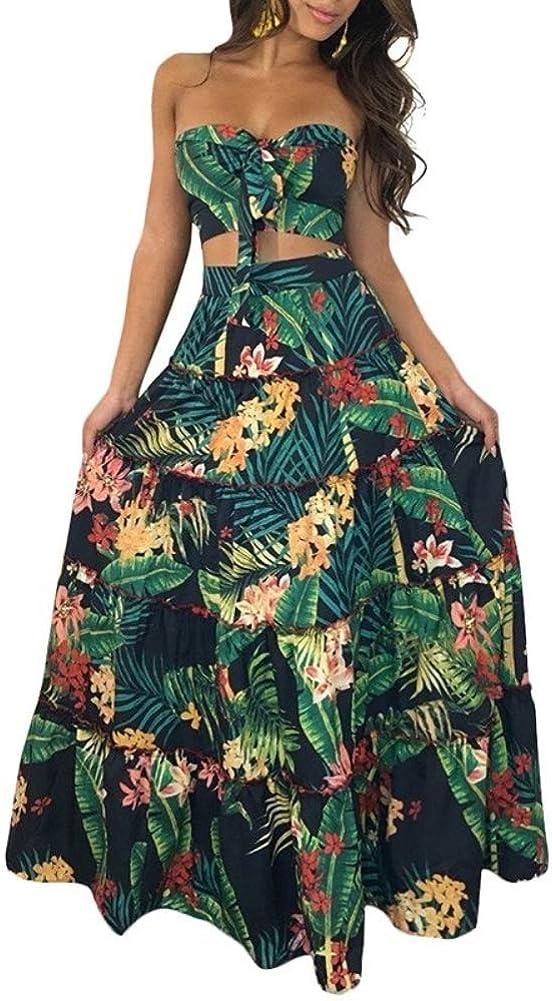 Women Two Piece Set Crop Top Skirt Floral Print Bandeau Strapless Sleeveless Ruffle Tied High Waist Casual Suit Long Dress