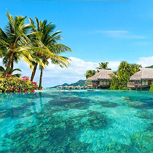 ZJfong HD Malediven Zeezicht Fotobehang Ruimtelijke Verlenging Persoonlijkheid Muur behang Woonkamer Hotel 330 x 210 cm.