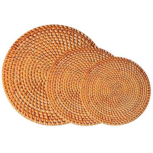 Xinlie Rattan-Pads Holz Bambus Glasuntersetzer Handgefertigte runde Rattan-Untersetzer Rattan Topfhalter Rund, Handgefertigt, rutschfest, Hitzebeständig für Tisch, Töpfe, Pfannen Teekannen(3 Stück)