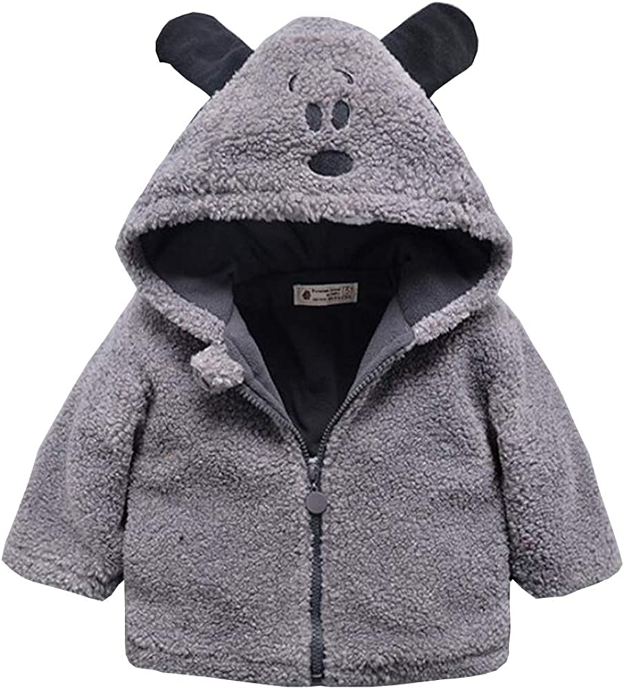 FOURSTEEDS Baby Boys Girls Faux Fur Fleece Hoodie Winter Warm Coat Jacket Cute Bear Thick Clothes Gray