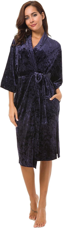 Alcea pinka Women's Kimono Robe Navy bluee Velvet Bathrobe Shawl with Pockets with Belt