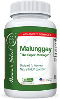 Malunggay by Mama's Select, 120 Veggie Capsules, 100% Organic Moringa Powder Herb, Formulated for Breast Feeding Mothers, Nursing Supplement Supports Lactation, 350 mg per Capsule
