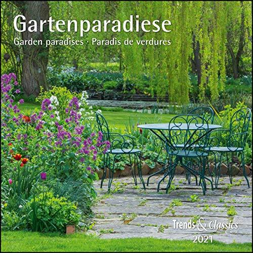 Gartenparadiese 2021 - Broschürenkalender - Wandkalender - mit herausnehmbarem Poster