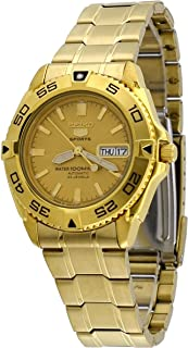 5 Sports #SNZB26J1 Men's Japan Gold Tone Stainless Steel 100M Automatic Dive Watc1 by Seiko Watches
