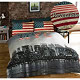 New York King-Size Set biancheria da letto matrimoniale reversibile, Copripiumino e 2 federe, Motivo: NYC, Multicolore