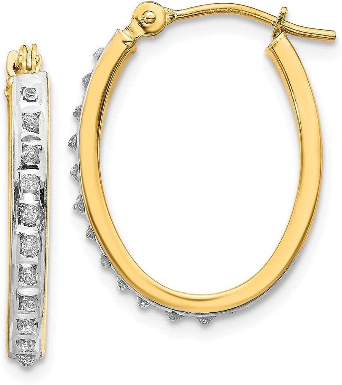 Beautiful Yellow gold 14K Yellowgold 14k Diamond Fascination Oval Hinged Hoop Earrings