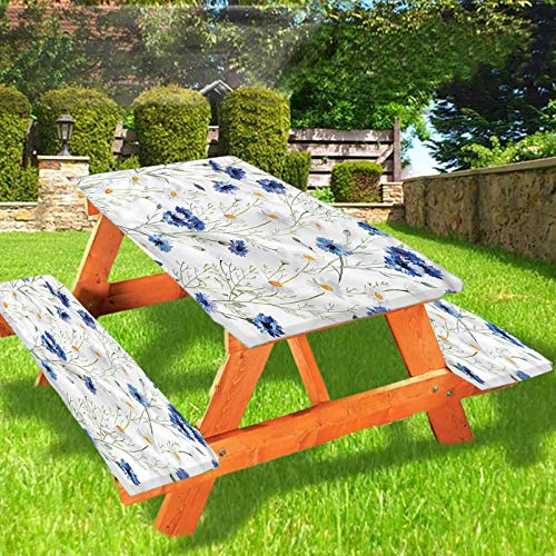 Lyzelre Watercolor Flower Picnic Table & Benches Cover, Daisies and Buds Elastic Edge Fitted Tablecloth,28 x 72 Inch, 3-Piece Set for Travel Christmas Picnics Parties Outdoor