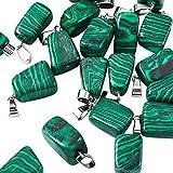 Beadthoven 24pcs Natural Malachite Pendants Irregular Healing Stone Crystal Chakra Reiki Nugget Tumbled Green Gemstone Charm Beads for DIY Necklace Jewelry Making