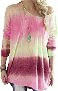 Womens Casual Crew Neck Long Sleeve Gradient Contrast Color Pullover Tops Sweatshirts