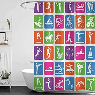 Shower Curtains for Bathroom Flowers Olympics Decorations Collection,Collection with 36 Sport Icons Basketball Cycling Diving Mountain Bike Wrestling Image,Green W36 x L72,Shower Curtain for Women