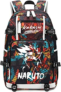 YOYOSHome Luminous Naruto Anime Cosplay Bookbag Rucksack Daypack Laptop Bag Backpack School Bag with USB Charging Port (Red 5)