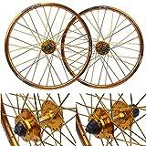 zyy 20 Pulgadas 406 Bicicleta aleación Aluminio Freno Rueda Disco 32 Agujero Conjunto Cubo Rueda Tarjetas for Bicicleta Plegable (Color : Gold, Size : 20 Inch)