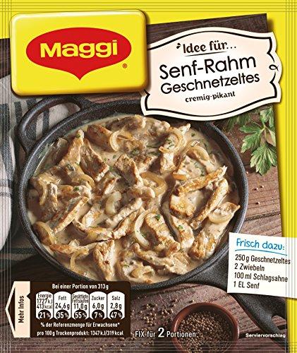 Maggi fix & frisch Senf-Rahmgeschnetzeltes, Beutel, ergibt 2 Portionen , 11er Pack (11 x 31g)