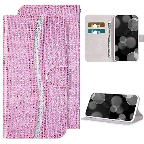 Kompatibel mit Xiaomi Redmi 7A hülle Bling Glitzer Glänzend Diamant Ledertasche Flip Case Brieftasche Handyhülle mit Kartensteckplatz Magnet PU Leder Klapphülle Schutzhülle,Rosa