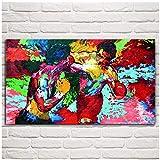 Chtshjdtb Rocky Vs Apollo - Leroy Neiman Boxing Canvas Pintura Al Óleo Imágenes Artísticas Decoración Para El Hogar Regalo Impresión En Lienzo-50X100Cm Sin Marco