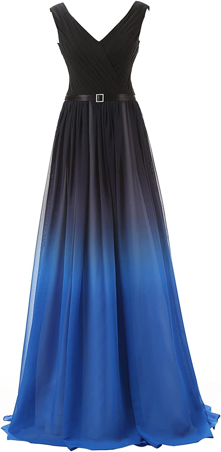 Belle House Women's Gradient Color Chiffon Formal Evening Dress Long Prom Gown