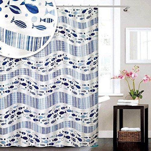 Acqua Nautisches Fische blau & weiß Polyester Duschvorhang 180x 180cm