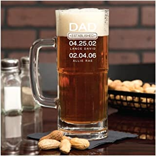 Customizable Beer Mug for Dads, Personalized Glassware for Father's Day, 22 oz