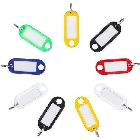 Uniclife colores surtidos Paquete de 25 etiquetas de pl/ástico transparentes resistentes para llaves con ventana de etiqueta de anillo dividido giratorio