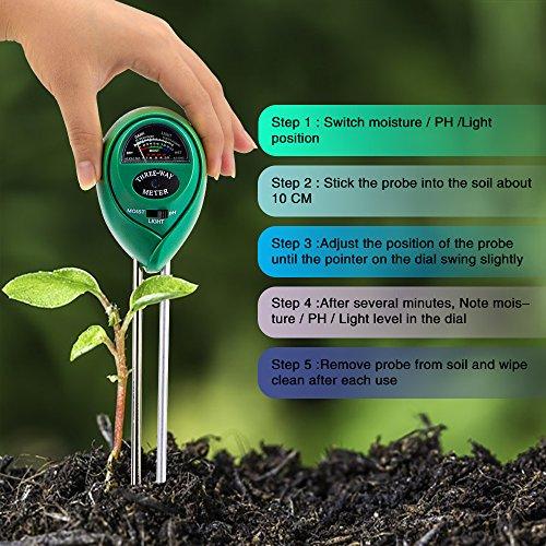 Abafia Soil Tester Kit, 3 en 1 testeur de sol Mètre d'humidité, Lumière et Testeur de pH Acidité, pour fleurs / herbe / plante / jardin / ferme / pelouse (Pas besoin de batterie)