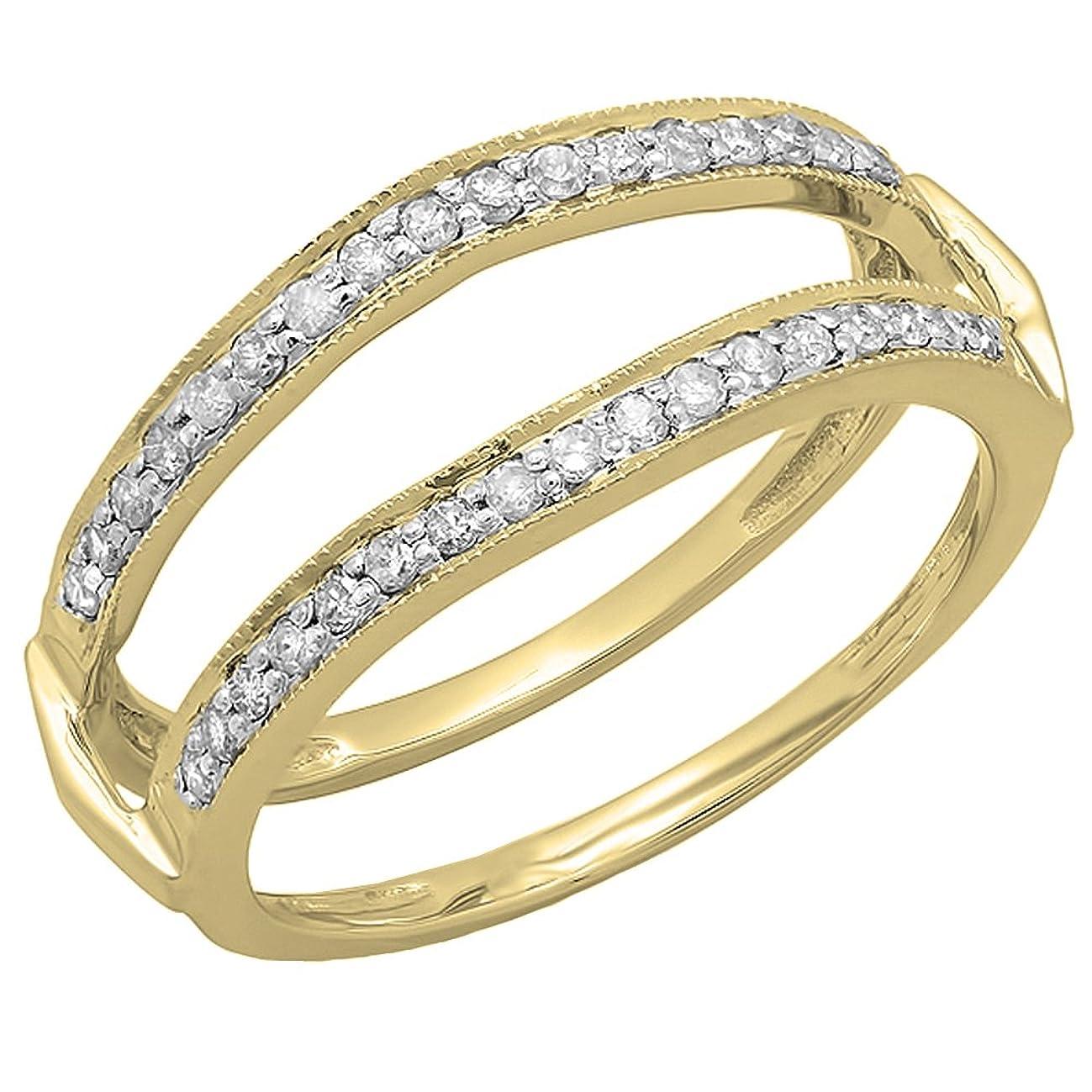 0.33 Carat (ctw) 14K Gold Round Diamond Ladies Millgrain Wedding Band Double Guard Ring 1/3 CT