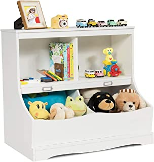 Costzon 4-Cubby Kids Bookcase with Footboard, Multi-Bin Children's Storage Organizer Cabinet Shelf with Thick Wood Board for Children Girls & Boys Bedroom Decor Room (White)