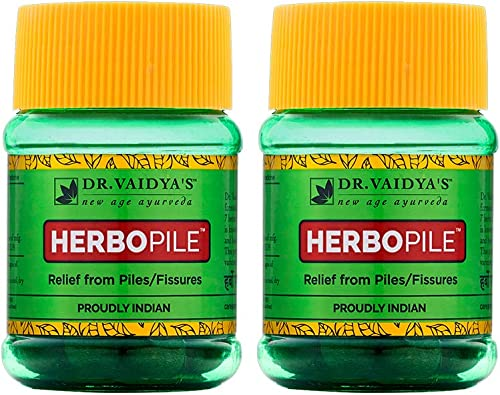 DR VAIDYA S Herbopile Ayurvedic Pills For Fissures and Piles Improve Digestion Relief from Constipation 30 Pills Each Pack of 2