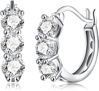 Dtja 3 CZ Crystal Round Hoop Earrings for Women Girls S925 Sterling Silver, Huggie Stud, Essential Style, Shiny Diamond La...