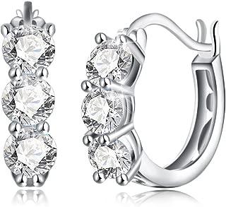 Dtja 3 CZ Crystal Round Hoop Earrings for Women Girls S925 Sterling Silver, Huggie Stud, Essential Style, Shiny Diamond Ladies Jewelry Elegant Birthday Christmas Wedding