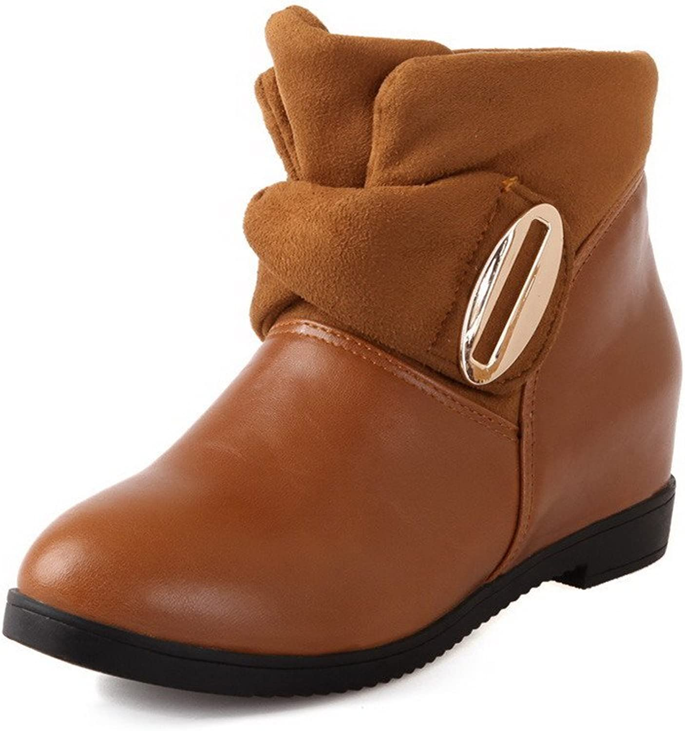 WeenFashion Women's Kitten-Heels Solid Closed Round Toe Soft Material Pull-On Boots