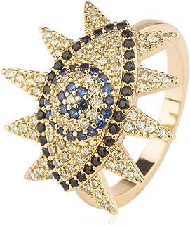 خواتم عين شرير من الذهب المطلي عيار 18 قيراط - خواتم إصبع العين الشر كبيرة للنساء - CZ Pave Eternity Protection Ring