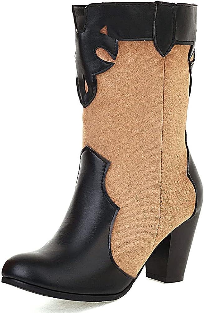 SaraIris Cowgirl Boots Women Round Toe Chunky High Heel Cowboy Mid Calf Boots