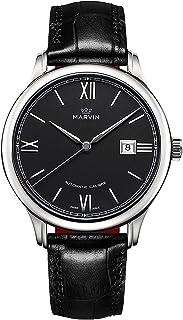 スイス製 Marvin 機械的ムーブメント ステンレスケース 黒色ワニ紋革の時計バンド ブラック文字盤 ファッション腕時計