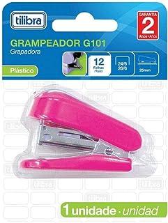 Grampeador 12 Folhas Mini com Extrator G101 Rosa, Tilibra, 243485 - 1 un