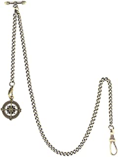ManChDa Albert Chain Pocket Watch, T-bar Chain with Compass Pendant, Curb Link Chain 2 Hook Antique Fob T Bar for Men(Bronze)