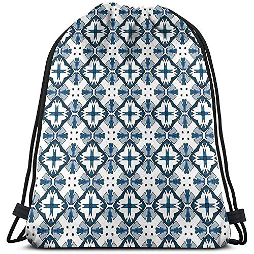 Bolsa de cordón con cordón para atraer la bolsa de cuerda de la mochila tradicional portuguesa azulejo patrón ilustración bolsas de gimnasio mochilas de viaje deporte cinch Pack