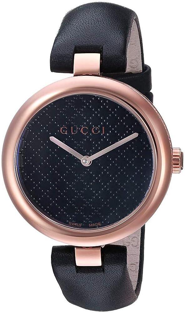 Gucci diamantissima medium ,orologio da donna,cassa in pvd oro rosa e nero, quadrante con motivo diamante nero 404243 I86E0 8646