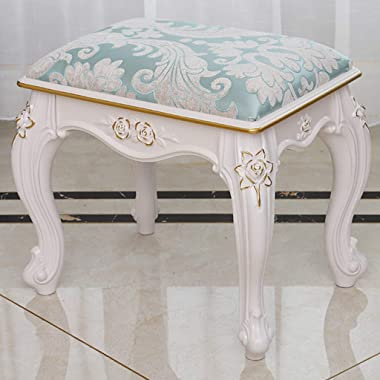 ZHIQ Makeup Bench Vanity Stool Dressing Stools Retro Wave Foot Thick Padded Cushioned Chair Piano Seat Bathroom Bedroom White