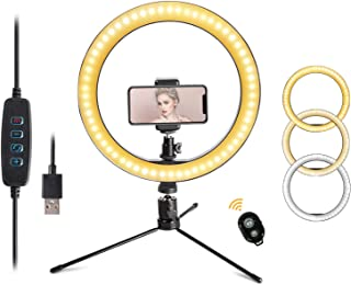 "LED 10.2"" Desktop Selfie Ring Light with Tripod Stand &Remote Control &10 Brightness Level & 3 Light Modes and 120 Bulbs 6..."