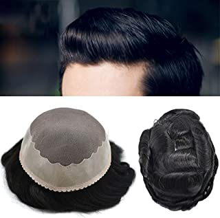 Fine Mono Mens Toupee Human Hair Replacement Poly Coating Around Natural Hairline Monofilament Black Wig (811, 1 Jet Black...