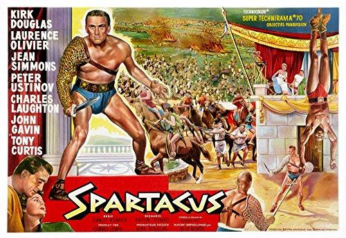 Posterazzi Spartacus (Top Left): Kirk Douglas (Belgium Art) 1960. Movie Masterprint Poster Print, (14 x 11)